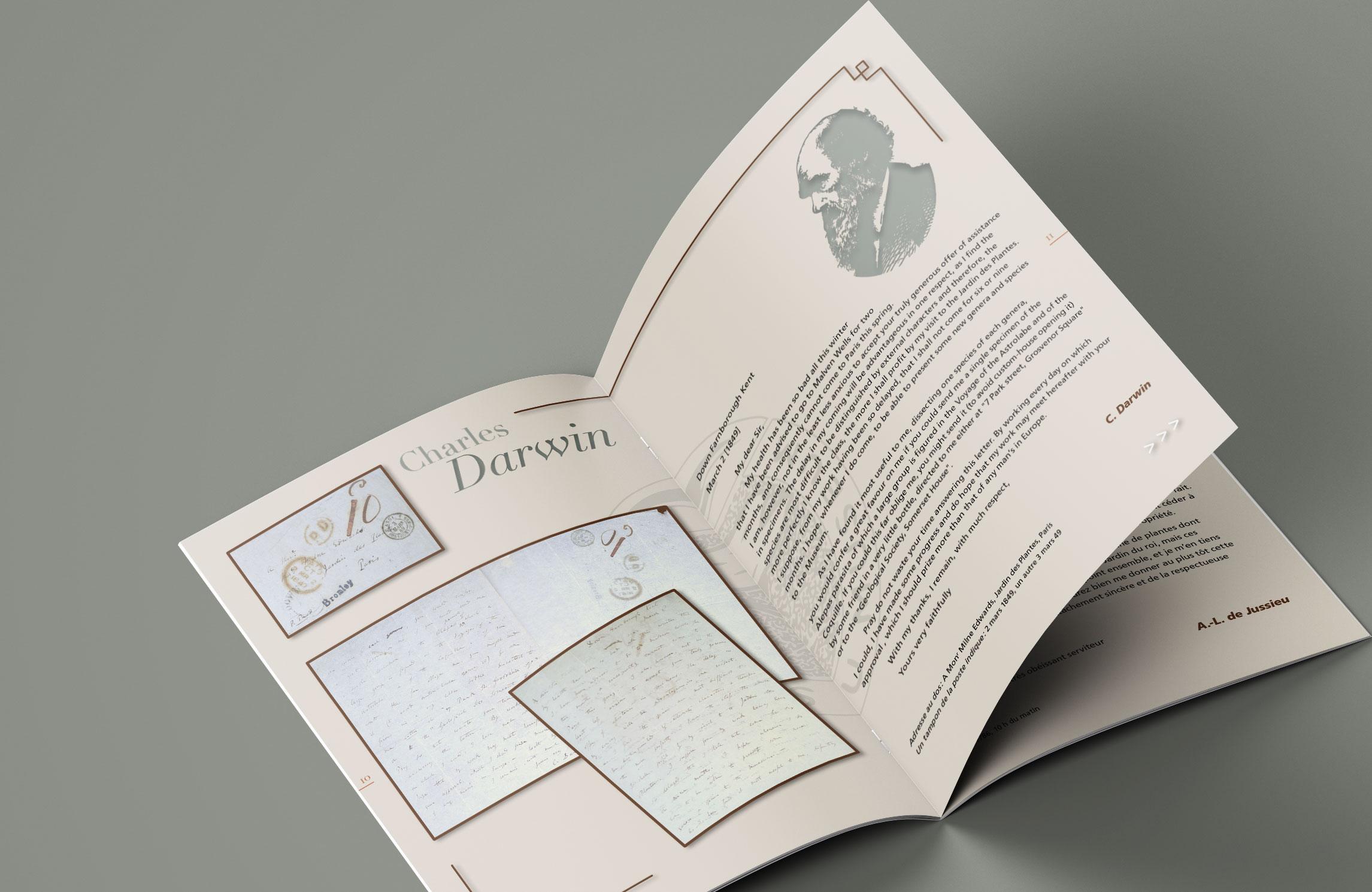 Brochure pour LES AMIS DU MUSÉUM D'HISTOIRE NATURELLE DE PARIS. La société des Amis du Muséum a acquis des lettres originales de Charles Darwin, Antoine Laurent de Jussieu, et André Thouin au profit du Muséum d'Histoire Naturelle de Paris.