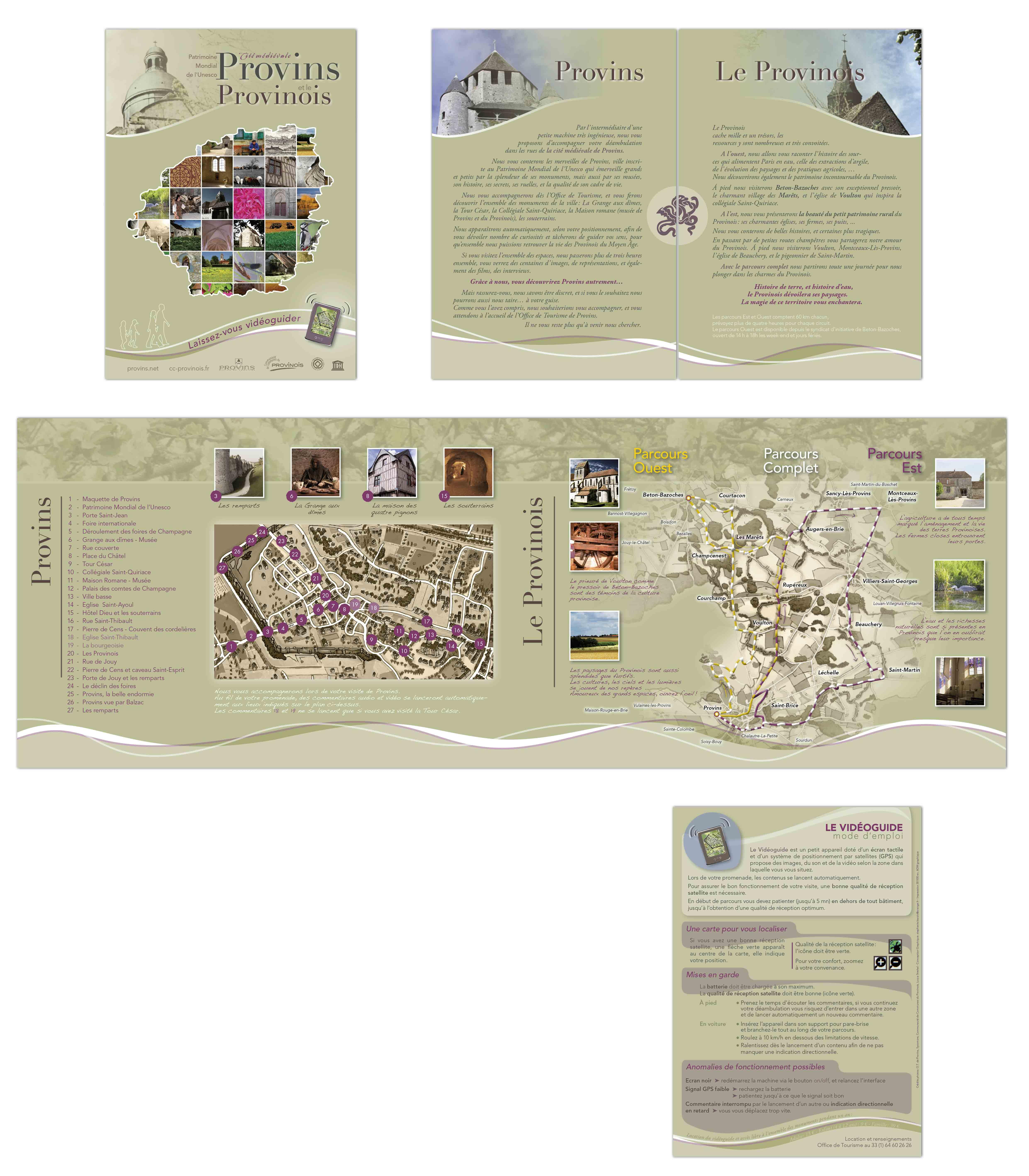 Création graphique, cartographie dépliant touristique pour l'Office du tourisme de Provins et du Provinois