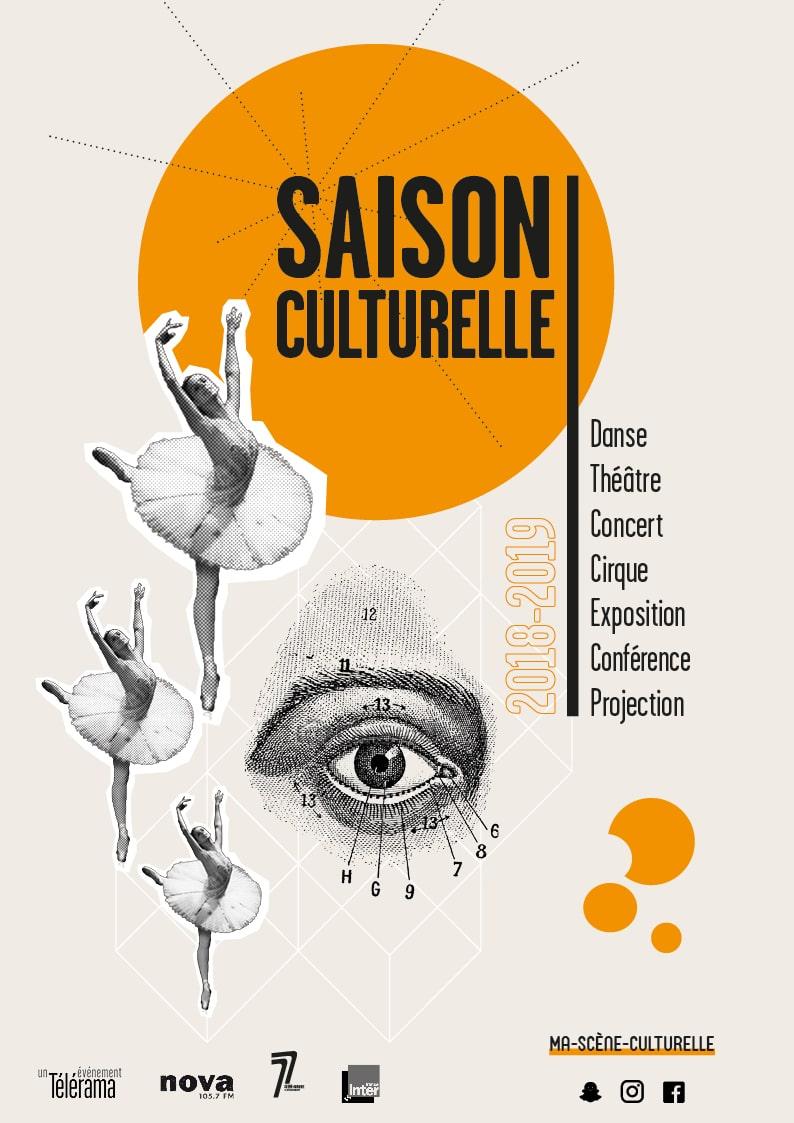 Affiche saison culturelle. Création graphique Perfekt !