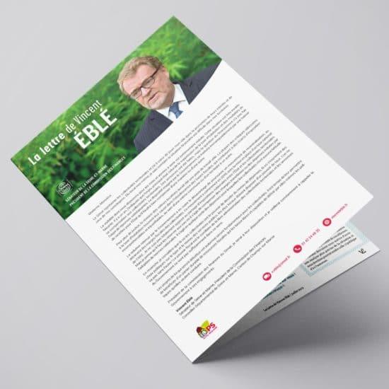 Conception et réalisation de la Lettre de Vincent Eblé, Sénateur de Seine-et-Marne. Perfekt ! Communication politique